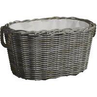 vidaXL Firewood Basket with Carrying Handles 60x40x28 cm Grey Willow - Grey