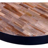 vidaXL Coffee Table Round Reclaimed Teak Wood - Black