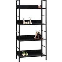 vidaXL Book Shelf Chipboard Black 60x27.6x124.5 cm 4-Layer - Black