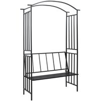 vidaXL Garden Arch with Bench Black 128x50x207 cm Iron - Black