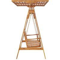 vidaXL Garden Swing Bench with Trellis Solid Acacia Wood - Brown