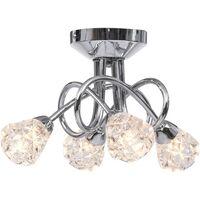 vidaXL Ceiling Lamp with Glass Lattice Shades for 4 G9 Bulbs - Transparent
