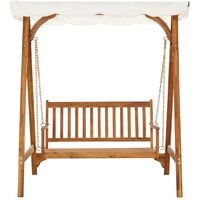 vidaXL Garden Swing Bench with Canopy Solid Acacia Wood - Brown