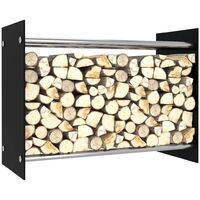 vidaXL Firewood Rack Black 80x35x60 cm Glass - Black