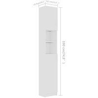 vidaXL Bathroom Cabinet White 32x25.5x190 cm Chipboard - White