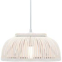 vidaXL Pendant Lamp Bamboo 40 W 30x12 cm Semicircle E27 - White