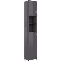 vidaXL Bathroom Cabinet High Gloss Grey 32x25.5x190 cm Chipboard - Grey