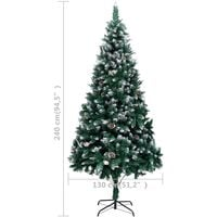 vidaXL Artificial Christmas Tree with Pine Cones and White Snow 240 cm - Green