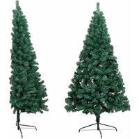 vidaXL Artificial Half Christmas Tree with Stand Green 150 cm PVC - Green