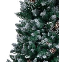 vidaXL Artificial Christmas Tree with Pine Cones and White Snow 210 cm - Green