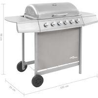 vidaXL Gas BBQ Grill with 6 Burners Silver - Silver