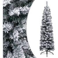 vidaXL Slim Artificial Christmas Tree with Flocked Snow Green 150 cm PVC - Green