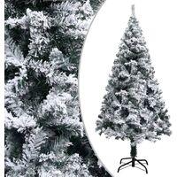 vidaXL Artificial Christmas Tree with Flocked Snow Green 150 cm PVC - Green