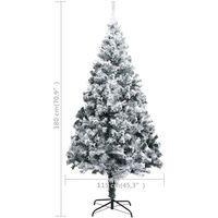 vidaXL Artificial Christmas Tree with Flocked Snow Green 180 cm PVC - Green