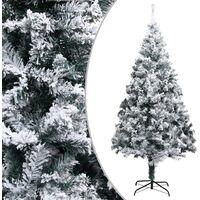 vidaXL Artificial Christmas Tree with Flocked Snow Green 240 cm PVC - Green