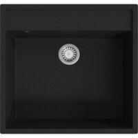 vidaXL Kitchen Sink with Overflow Hole Black Granite - Black
