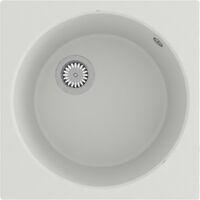 vidaXL Kitchen Sink with Overflow Hole White Granite - White