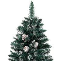 vidaXL Slim Christmas Tree with Real Wood and White Snow Green 150 cm - Green