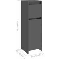 vidaXL Bathroom Cabinet High Gloss Grey 30x30x95 cm Chipboard