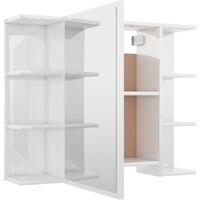vidaXL Bathroom Mirror Cabinet High Gloss White 80x20.5x64 cm Chipboard - White