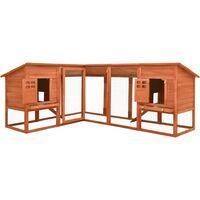 vidaXL Outdoor Rabbit Hutch with Run Brown Solid Fir Wood - Brown