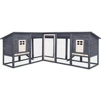 vidaXL Outdoor Rabbit Hutch with Run Grey and White Solid Fir Wood - Grey