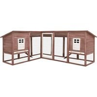 vidaXL Outdoor Rabbit Hutch with Run Mocca and White Solid Fir Wood - Brown