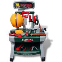 Kids'/Children's Playroom Toy Workbench with Tools Green + Grey - Multicolour