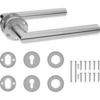 vidaXL Door Handle Set with PZ Profile Cylinder Stainless Steel - Silver