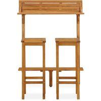 vidaXL 3 Piece Balcony Bar Set Solid Acacia Wood - Brown