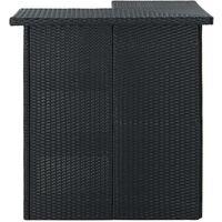 vidaXL Corner Bar Table Black 100x50x105 cm Poly Rattan - Black