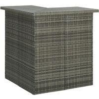 vidaXL Corner Bar Table Grey 100x50x105 cm Poly Rattan - Grey