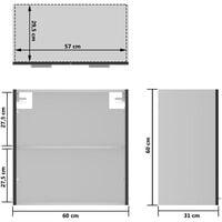 vidaXL Hanging Glass Cabinet Grey 60x31x60 cm Chipboard - Grey