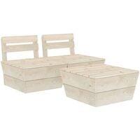 vidaXL 3 Piece Garden Pallet Lounge Set Impregnated Spruce Wood - Beige