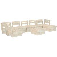 vidaXL 8 Piece Garden Pallet Lounge Set Impregnated Spruce Wood - Beige