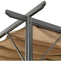 vidaXL Pergola with Retractable Roof Taupe 3x3 m Steel 180 g/m² - Taupe
