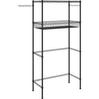 vidaXL 2-Tier Storage Rack over Laundry Machine Black 75x35x150 cm - Silver