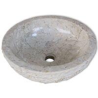 vidaXL Basin Marble 40 cm Cream - Cream