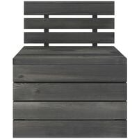 vidaXL 7 Piece Garden Pallet Lounge Set Solid Pinewood Dark Grey - Grey