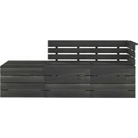 vidaXL 3 Piece Garden Pallet Lounge Set Solid Pinewood Dark Grey - Grey
