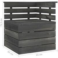 vidaXL 11 Piece Garden Pallet Lounge Set Solid Pinewood Dark Grey - Grey
