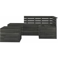 vidaXL 5 Piece Garden Pallet Lounge Set Solid Pinewood Dark Grey - Grey