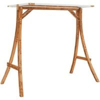 vidaXL Swing Frame with Cream Roof Solid Bent Wood with Teak Finish - Brown