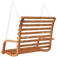 vidaXL Swing Bench Solid Bent Wood with Teak Finish 91x130x58 cm - Brown
