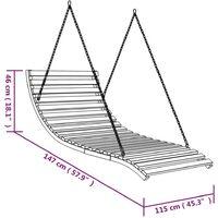 vidaXL Swing Bed Solid Bent Wood with Teak Finish 143x120x65 cm - Brown
