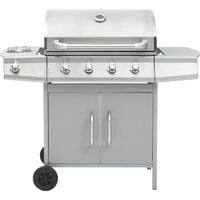 vidaXL Gas Barbecue Grill 4+1 Cooking Zone Silver Stainless Steel