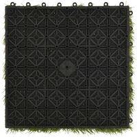 vidaXL Artificial Grass Tiles 11 pcs Green 30x30 cm - Green
