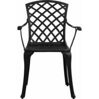 vidaXL 3 Piece Bistro Set Cast Aluminium Black - Black