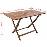 vidaXL Garden Table Solid Acacia Wood 120x70x75 cm - Brown