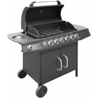 vidaXL Gas Barbecue Grill 6+1 Cooking Zone Black - Black